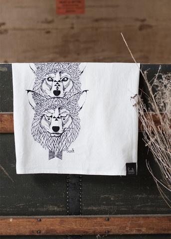 Wolf flour sack towel by Bark Decor