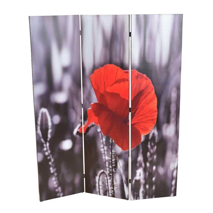Vintage Paravent mit Mohnblumen Motiv Rot Schwarz Jetzt bestellen unter