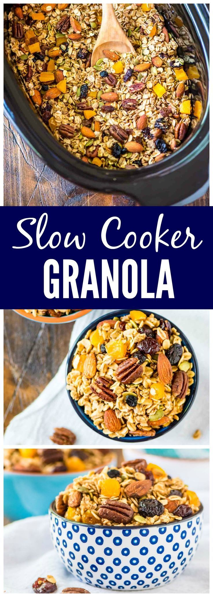 The BEST, easiest homemade granola ever! Crock Pot Granola. Simple, healthy, and the slow cooker does the work. Add any of your favorite fruits, nuts, and chocolate chips. DELICIOUS. {vegan, dairy free, gluten free} Recipe at http://wellplated.com /wellplated/
