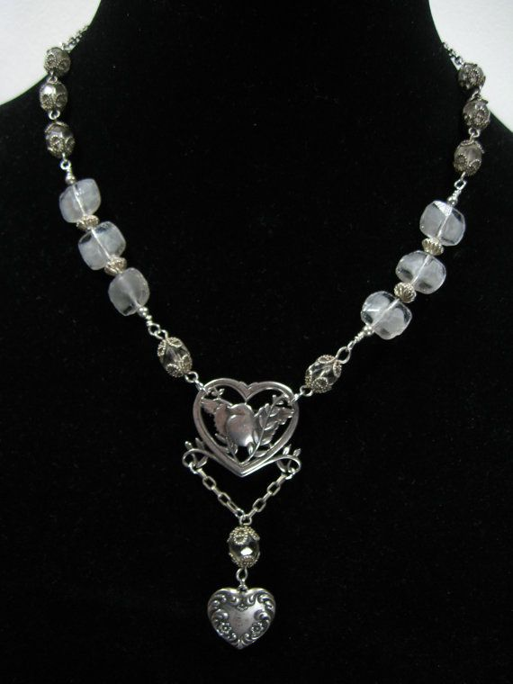Adorable Vintage Sterling Bird Necklace With Repurposed Rosary Beads and Upcycled Antique Victorian Heart Charm