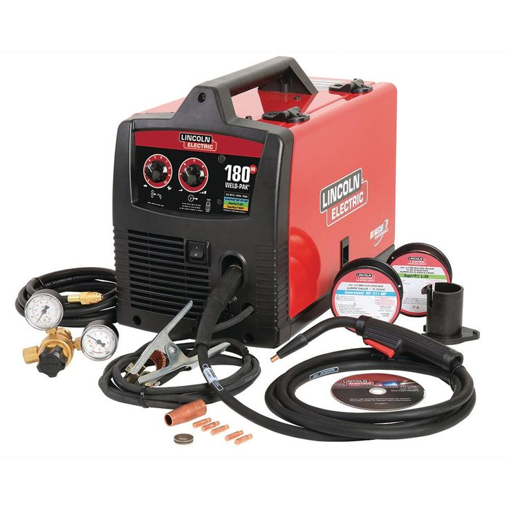 Lincoln Electric 180 Amp Weld-Pak 180 HD MIG Wire Feed Welder with Magnum 100L Gun, Gas Regulator, MIG and Flux-Cored Wire, 230V