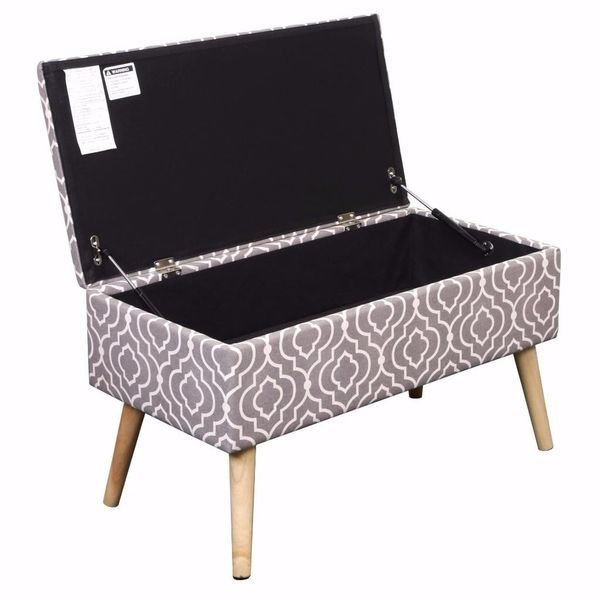 Storage Ottoman Bench 30 Inch Easy Lift Top Upholstered Moroccan
