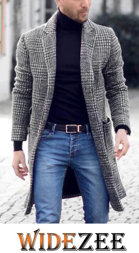 Mens Casual Pure Color Long Sleeve Warm Coat