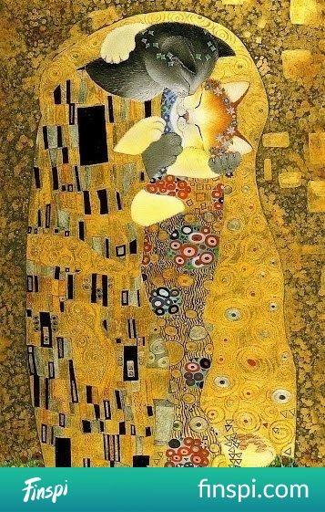 "With apologies to Gustav Klimt... I too have ""The Kiss"", love it... Love kitty kiss too! #kiss #kotek #koty #gustav klimt #klimt #the kiss #prowler #kot sztuki #sanat"