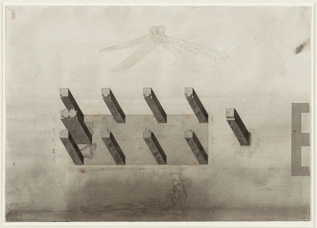 Walter Pichler. Pillars under the Shed Project , Aerial perspective. 1975