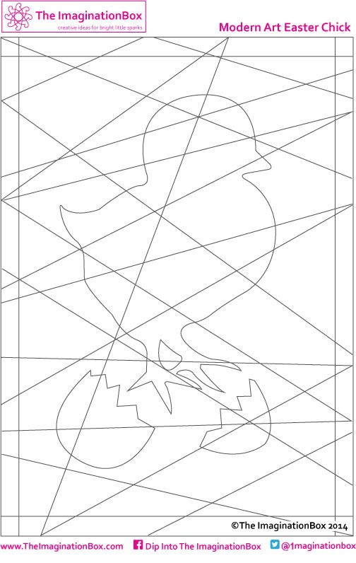 'hidden' modern art easter chick colouring template - free