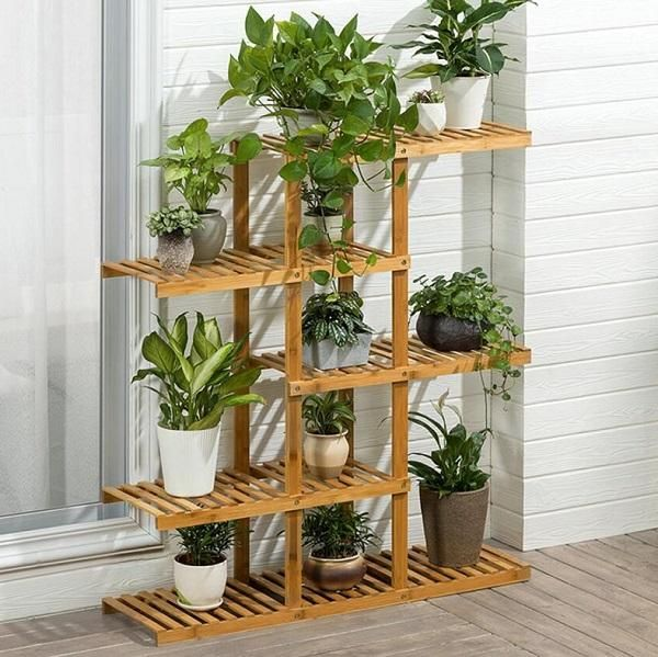 Heavy Duty Flower Planter Solid Multiple Tier Plant Stand Long Bamboo Flower Rack Table Outdoor Shelf For Plants Modern House Plants Decor Plant Shelves Plant Decor