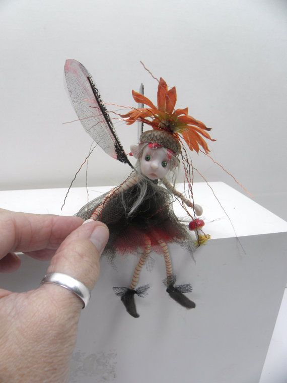 red dot PIXIE FAIRY ... OOAK aRt dOLL ... polymer clay pose-able fairies, pixies, elves, and gnomes ... by DinkyDarlings