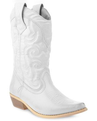 Step out in style with the Westee Cowboy Boots by Bronx Women. This sleek design is white in colour and showcases a faux leather upper. Boasting a moderately pointed, upturned nose, it sits at the calf while embroidered detailing completes this western style. Perfect for everyday wear, pair it with light blue denims, a simple tee and a slouchy beanie for an effortlessly cool look.