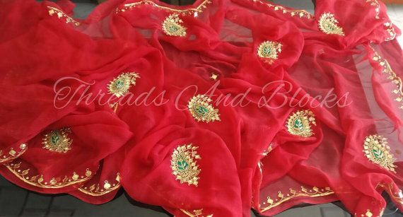 Pure Chiffon Saree with Danka Work by Threadsandblocks on Etsy