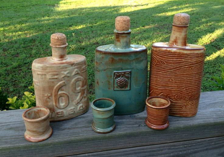 Flask and Shot Glass Sets by Linda Neubauer