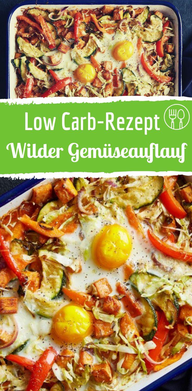 Wilder Gemüseauflauf mit Spiegeleiern der sogar Low-Carb ist