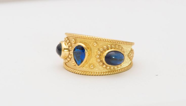 Sapphire Gold Ring Sapphire Ring Gold Man Ring Blue
