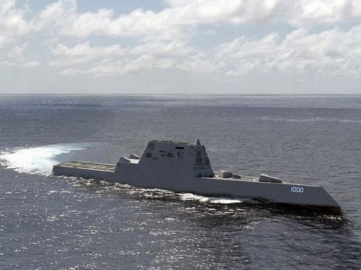 US Navy christens huge $3 billion destroyer ship USS Zumwalt that appears as a fishing boat on enemy radar...