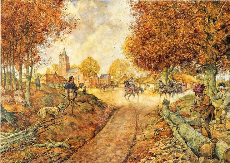 #Brabants #dorp in de vijftiende eeuw | #Schoolplaat #Isings