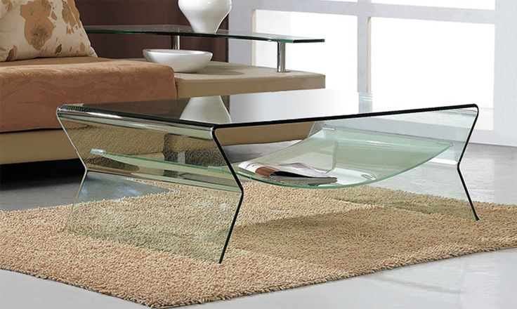 Table Basse TYRON en verre courbé transparent