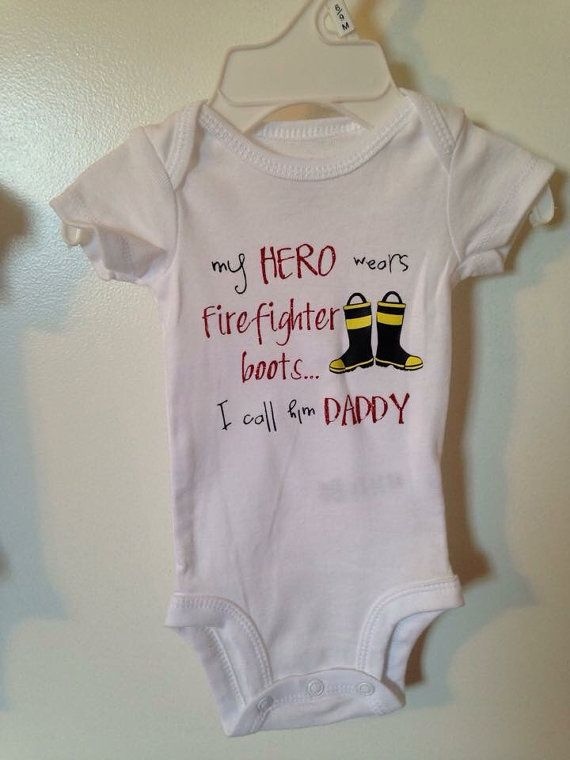 My hero wears firefighter boots I call him daddy Police/firefighter daddy onesies by ChloeNCachesCloset on Etsy