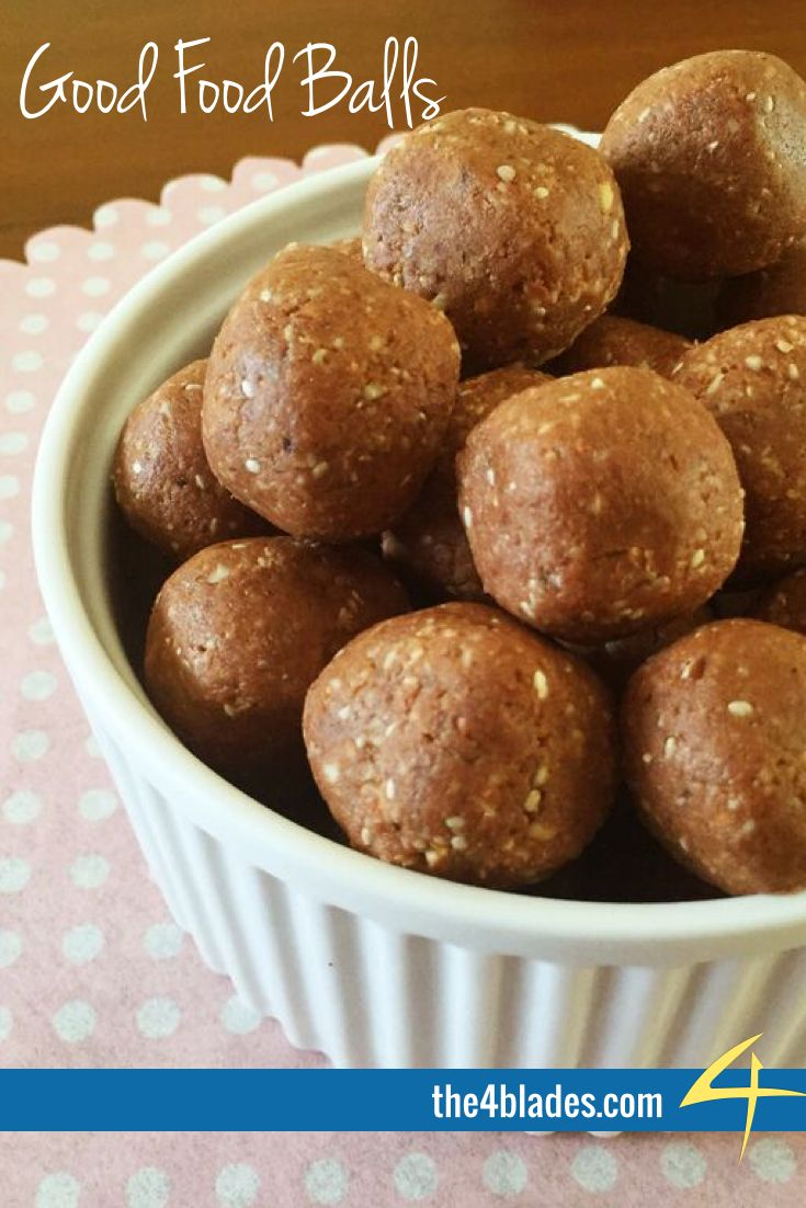 Good Food Balls  A big thanks to Nat Kringoudis for this contribution to The 4 Blades Magazine Breakfast Issue.  Ingredients: Almonds, medjool dates, cacao butter, shredded coconut, honey, cacao, protein powder, chia seeds.