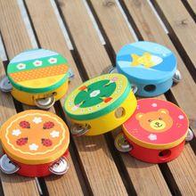 Cartoon Wooden Hand Drum Musical Tambourine Beat Instrument Baby Educational Toy