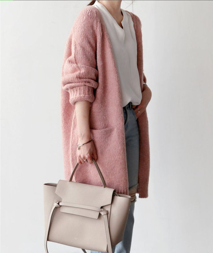 Open-Front Wool Blend #Cardigan #pink