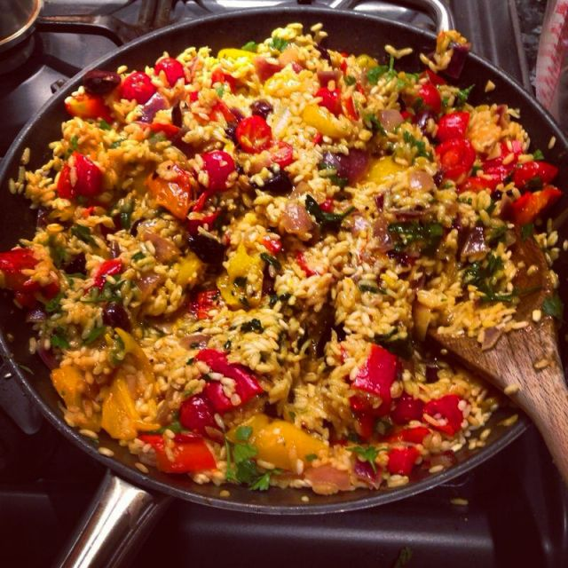 Vegetarian paella is one of those easy crowd pleasers. It is a one pot wonder with no need for any side dishes. While it isn't going to win any awards for complexity or style, it is a great dish fo...