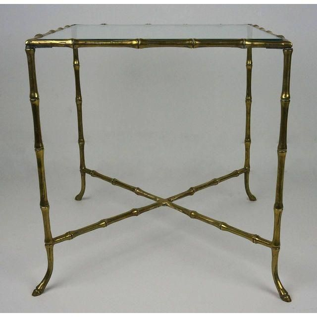 Hollywood Regency Style Brass Faux Bamboo Table - Image 10 of 10