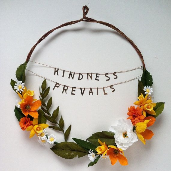 Kindness Prevails Handcrafted Crepe Paper Flower Wreath Joanna Newsom Lyrics