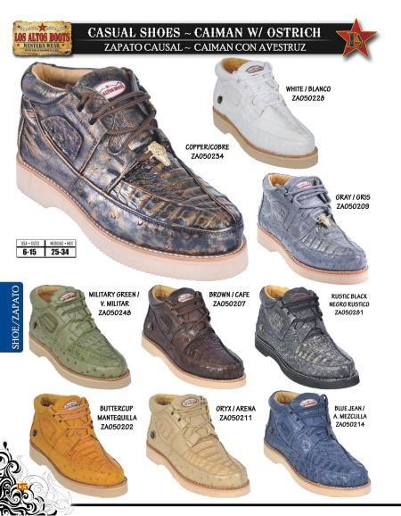 1cd30acf469 High Top Exotic Skin Sneakers for Men Los Altos Genuine caiman ...