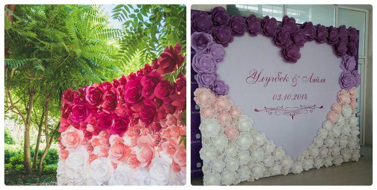 Свадебный фон стена из бумажных цветов Брест