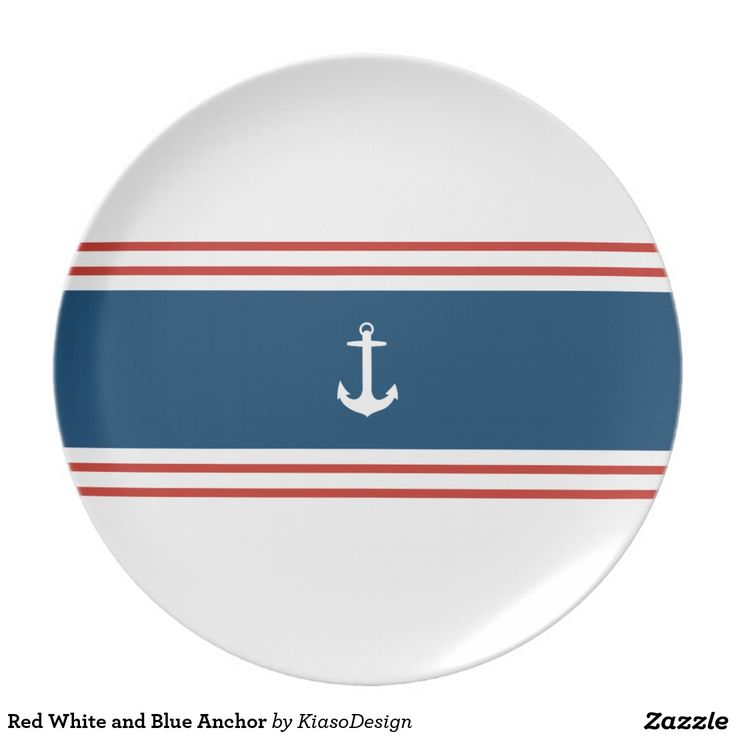 Red White and Blue Anchor Party Plates