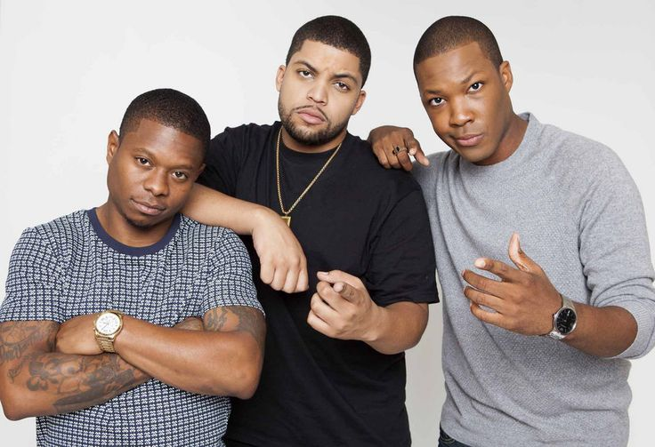New Orelans actor Jason Mitchell, left, poses for a photo with his 'Straight Outta Compton' co-stars O'Shea Jackson Jr., and Corey Hawkins in August 2015 at the Four Seasons Hotel in Los Angeles.  (Photo by Rebecca Cabage/Invision/AP)