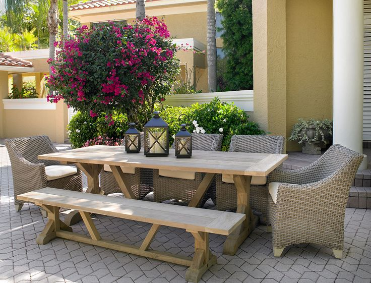 Siesta Reclaimed Teak Outdoor Dining Set A Fifth U0026 Shore Collection By  CarlsPatio.com #