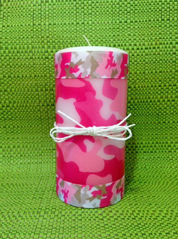 Pink Camouflage Pillar Candle/ Camo Room by CreativeGlassByBecky