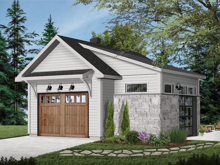 028g 0062 1 Car Garage With Workshop 22 X24 Garage Plans Detached Garage Plan Detached Garage