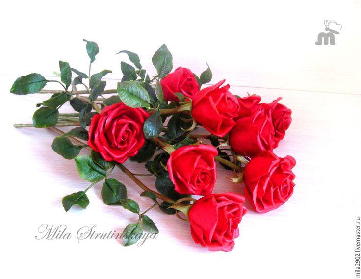 Купить Букет красных роз из холодного фарфора - ярко-красный, красные розы, красные цветы