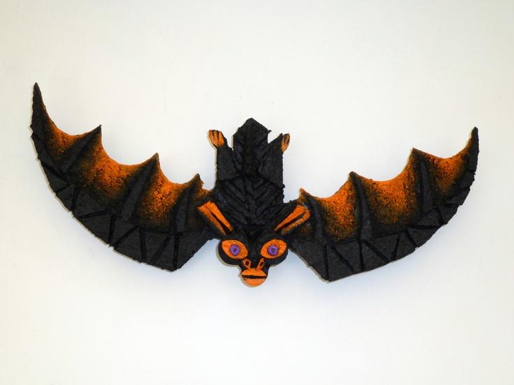 batty vintage style cork folk art - Vintage Style Halloween Decorations