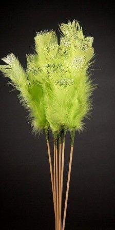 Komplet 6-u pików piór 34 cm brokatowanych zielonych