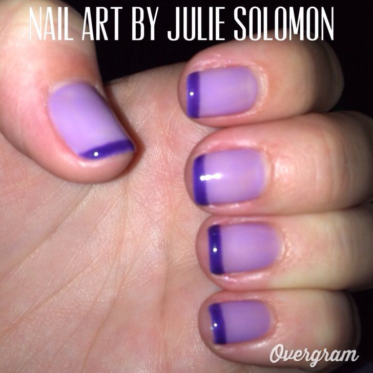 Purple French Manicure with Shellac.