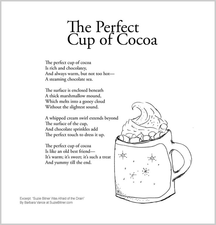 cute Children's poem about hot chocolate and cocoa. Fun winter poem great for school and classroom activities.  Common core 1st, 2nd, and 3rd grade reading and ESL