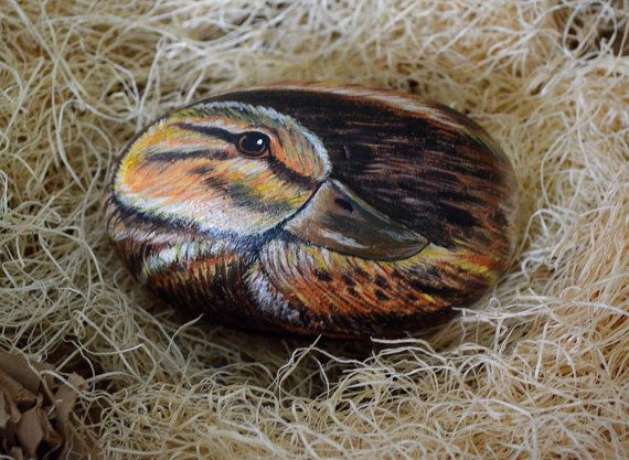 Duck Rock Art Hand Painted Stone 3D Art Duck by AnimalArtDecor
