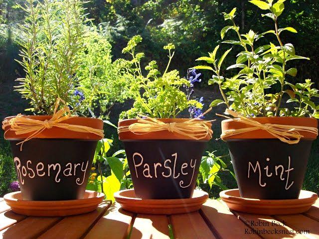 Krydderurtepotter med tavlemaling til at navngive krydderurterne