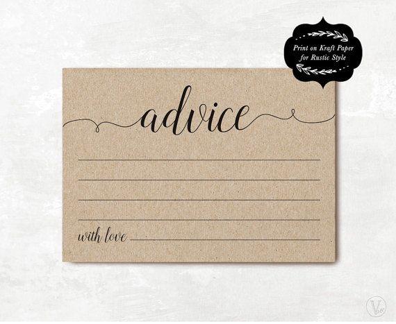"""Wedding Advice Card Template, Printable Advice Card, DIY Advice for the Bride and Groom Cards, Kraft, Editable Text, 5""""x3.5"""", WW008"""