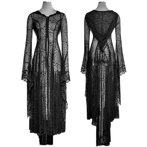 Black Cobweb Maxi Long Sleeve Gothic Vampire Fashion Cover Up Dresses SKU-11402376