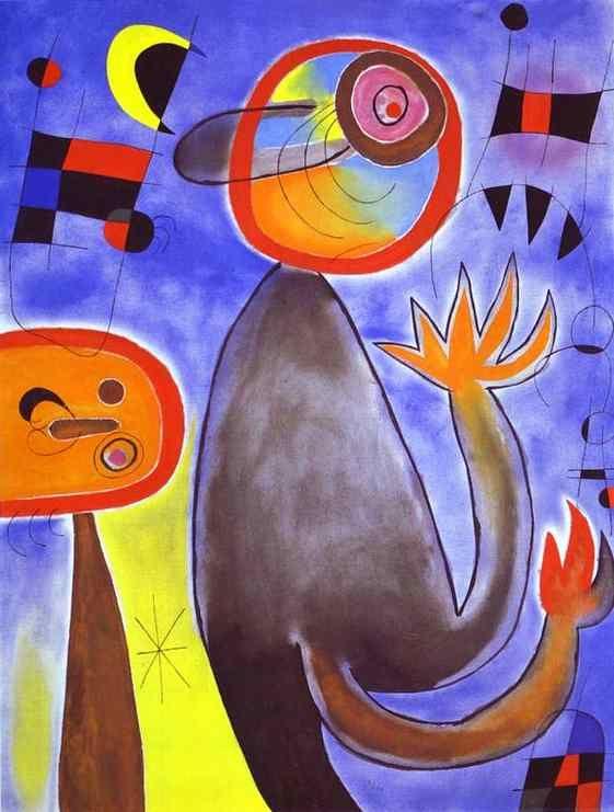 Ladders Cross the Blue Sky in a Wheel of Fire - Joan Miro