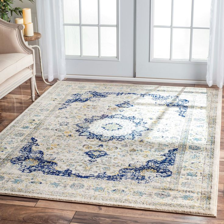 nuLOOM Traditional Persian Vintage Fancy Area Rug (5' x 7'5) (Ivory/Blue), Beige Off-White (Polypropylene, Abstract)