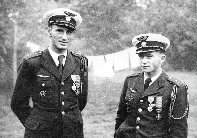 Alois Vašátko and František Peřina, two of the most successful fighter pilots at Battle of France
