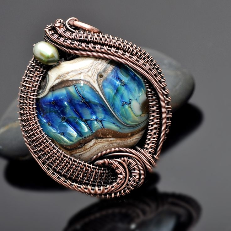 wire wrap pendant,copper pendant,lampwork bead,artisan glass,copper jewelry,wire wrap jewelry,wire weave,wire work