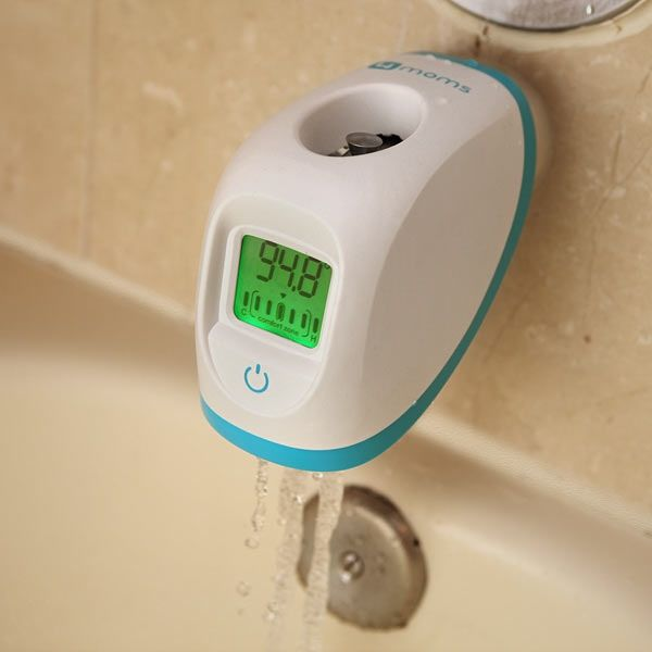 The device tells the temperature of the water as it comes out of the tap to ensure that it is not too hot/cold for the baby