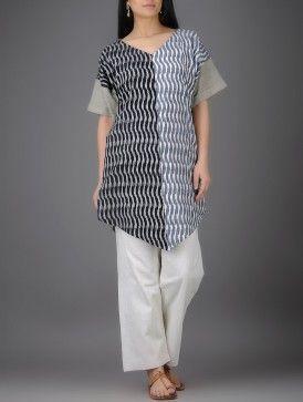Grey-Ivory Ikat V-neck Khadi Cotton Tunic with Asymmetrical Hem