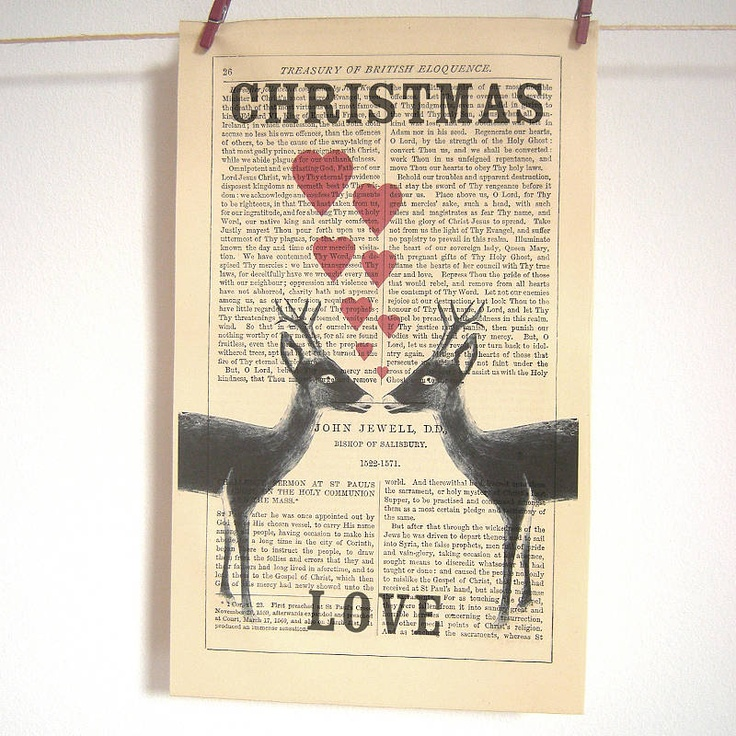 Antique Paper Upcycled 'Christmas Deer' Print, Medium